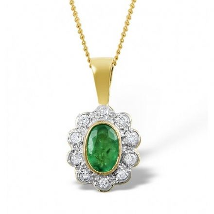 18K Gold 0.10ct Diamond & 6mm x 4mm Emerald Pendant, DCP04-E